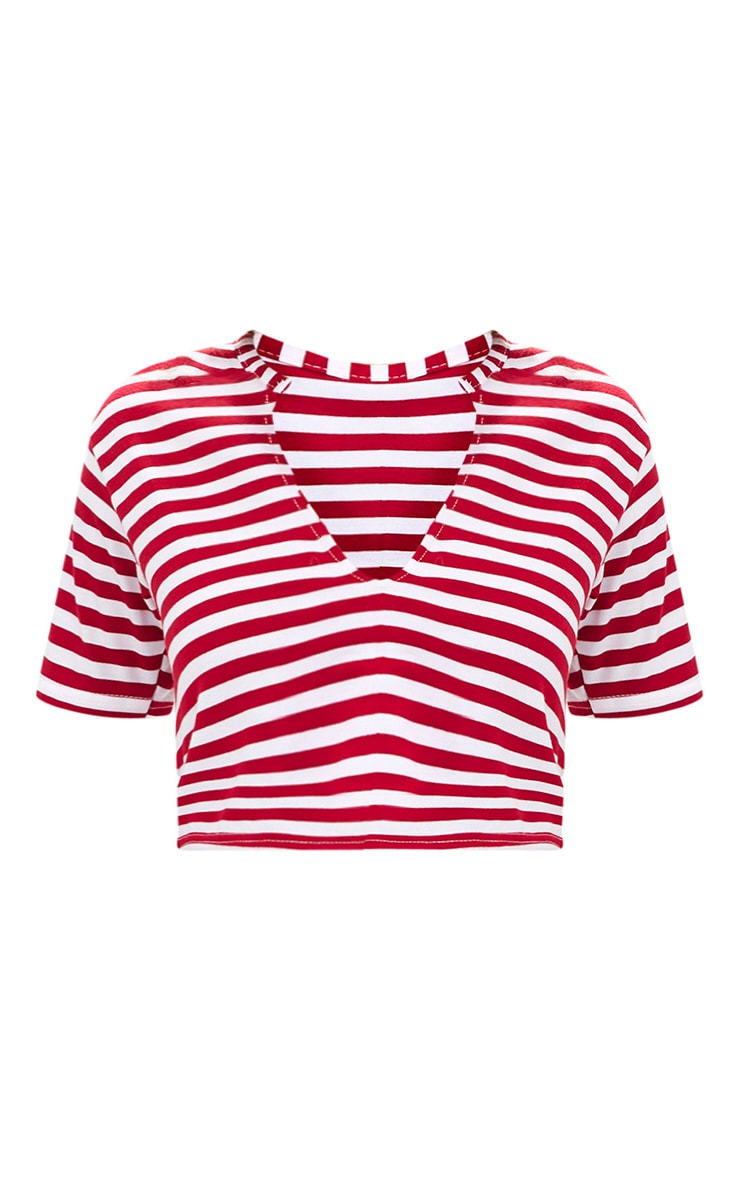 Red Stripe V Neck Crop T Shirt 3