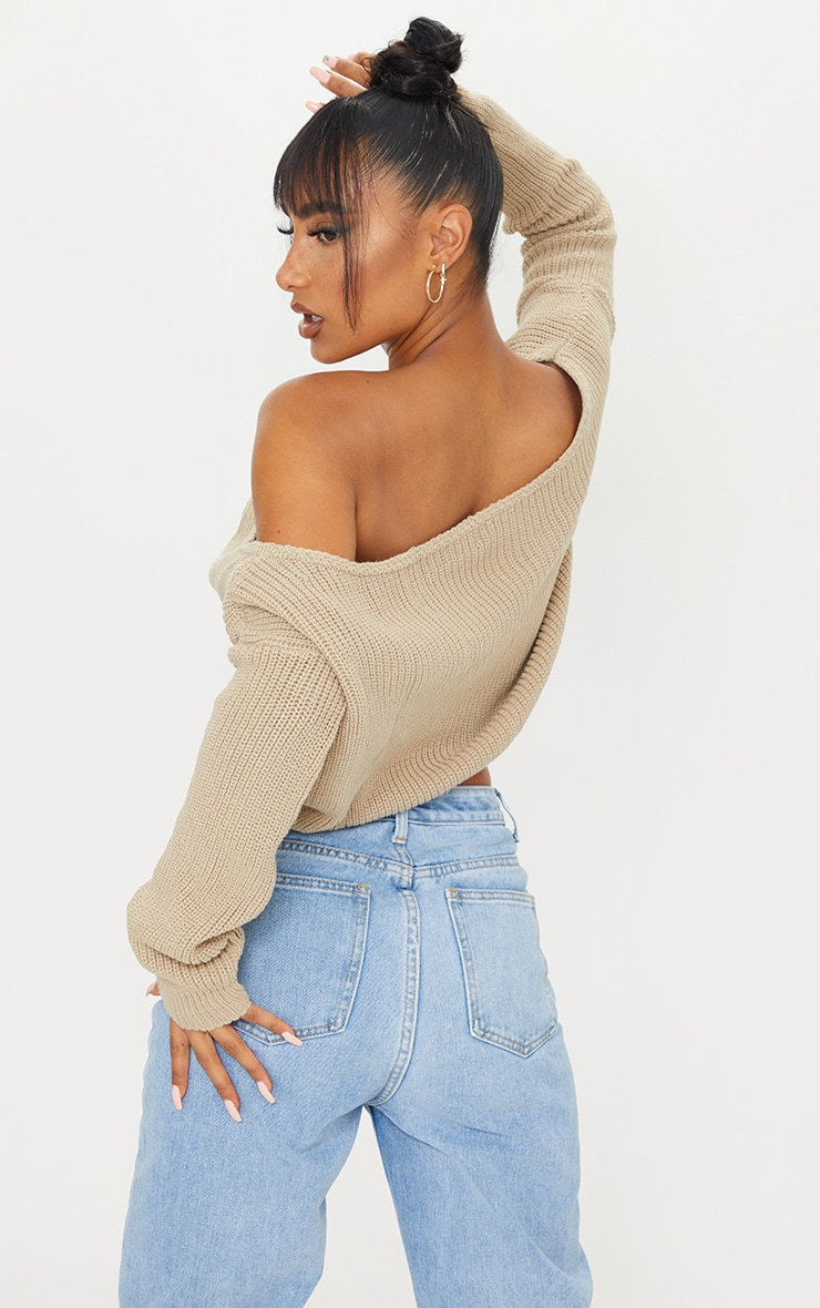 Stone Off The Shoulder Crop Sweater 2