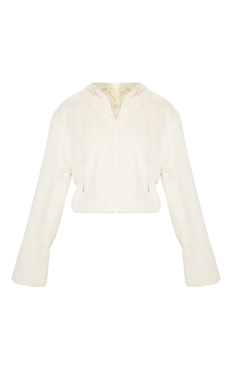 Cream Faux Fur Cropped Hooded Jacket 3