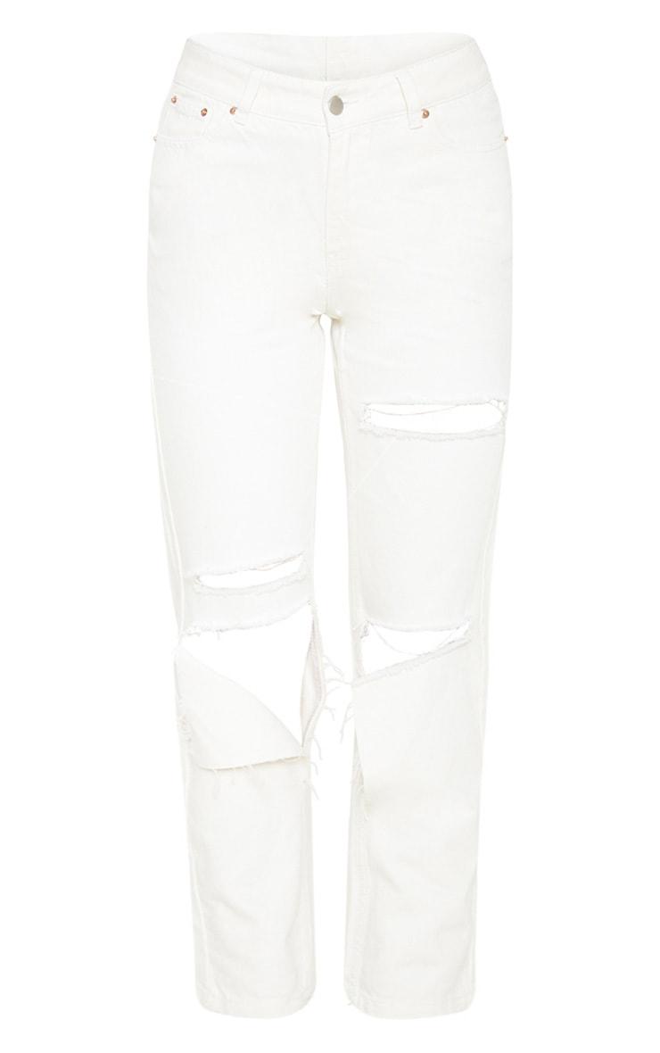 Ecru Slit Knee Straight Leg Jeans 3