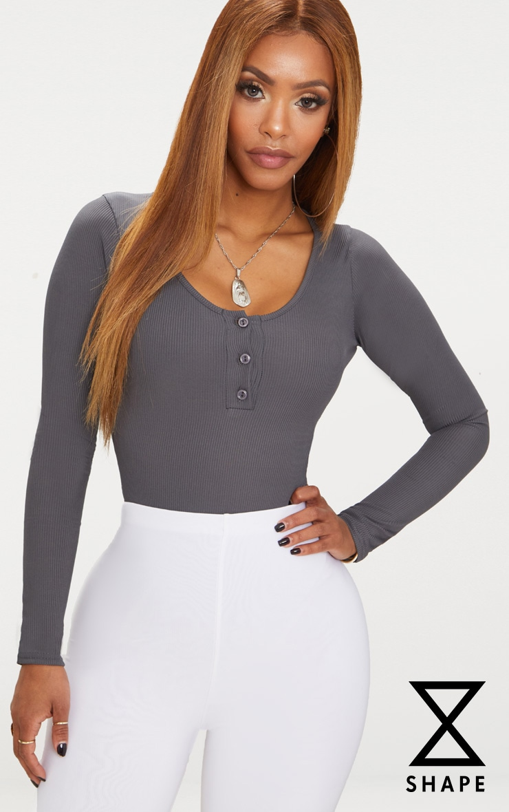 Shape Charcoal Ribbed Long Sleeve Bodysuit 1
