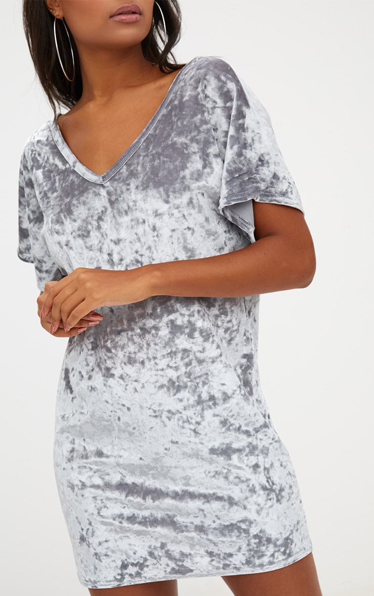 Grey Velvet V Neck T Shirt Dress 5