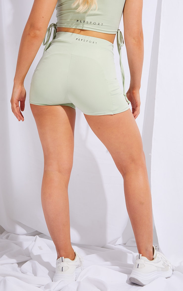 PRETTYLITLETHING Sage Green Sport Panelled Booty Shorts 3