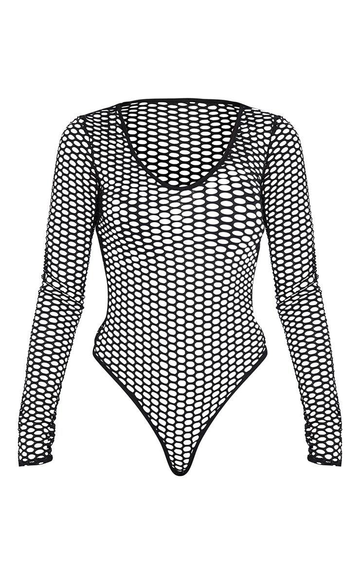 Black Fishnet Plunge Long Sleeve Bodysuit 3