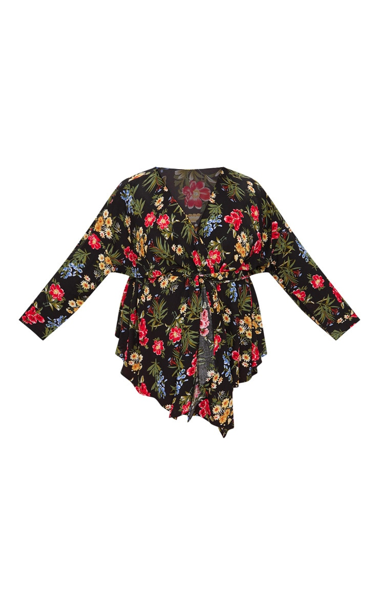 Plus Black Floral Print Tie Waist Blouse 3