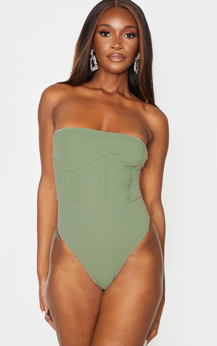 Sage Green Crepe Structured Underbust Bandeau Bodysuit 2