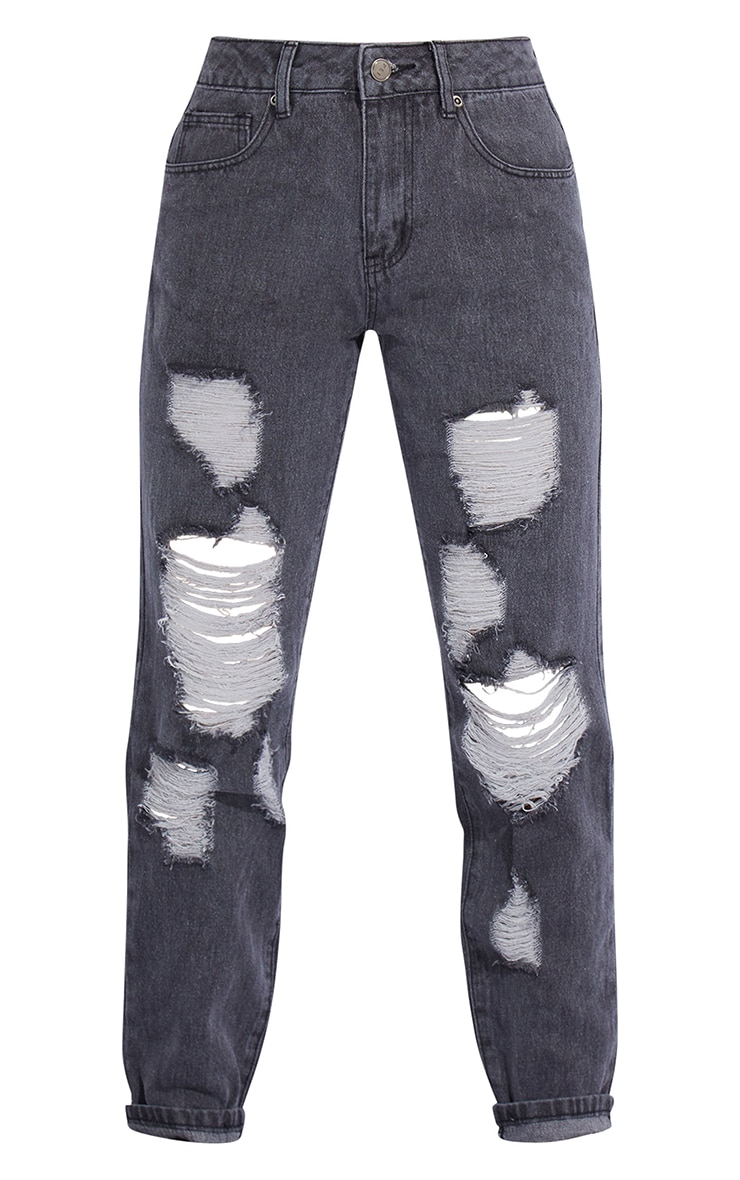 Petite Washed Black Distressed Jeans 5