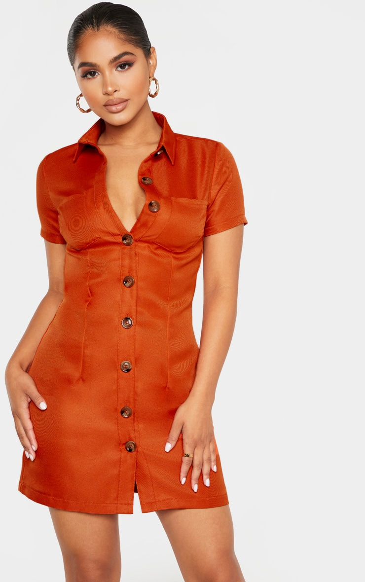 Petite Rust Button Utility Shirt Dress  1