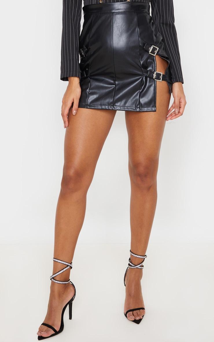 Black Faux Leather Double Buckle Detail Mini Skirt 2