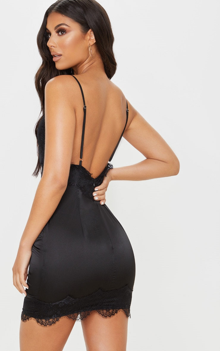 Black Lace Trim Satin Bodycon Dress 2