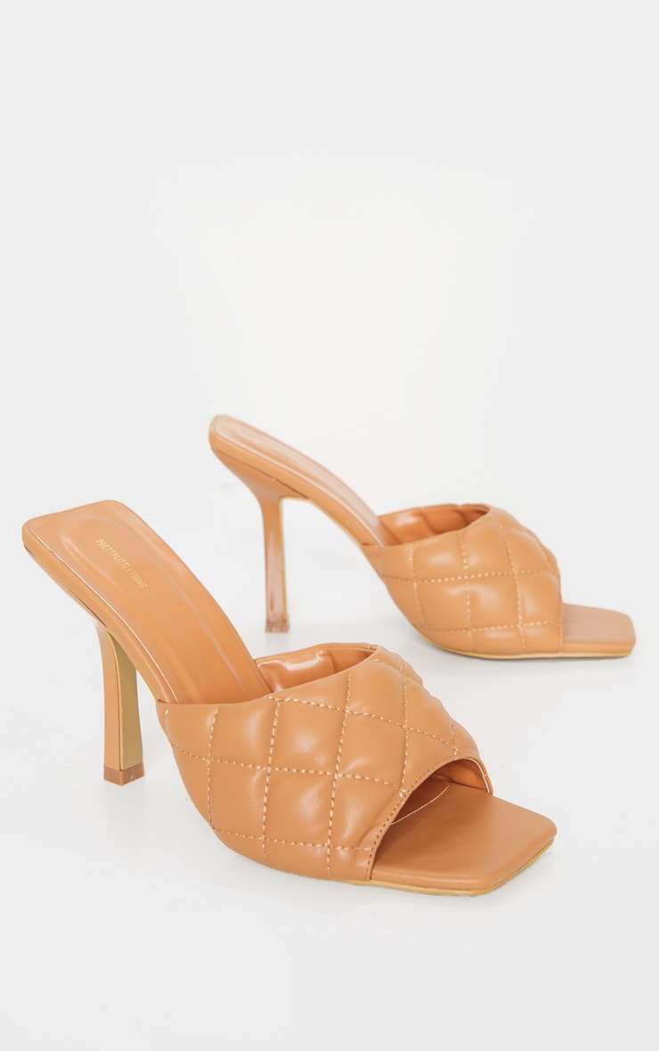 Camel Quilted High Heel Mule 3