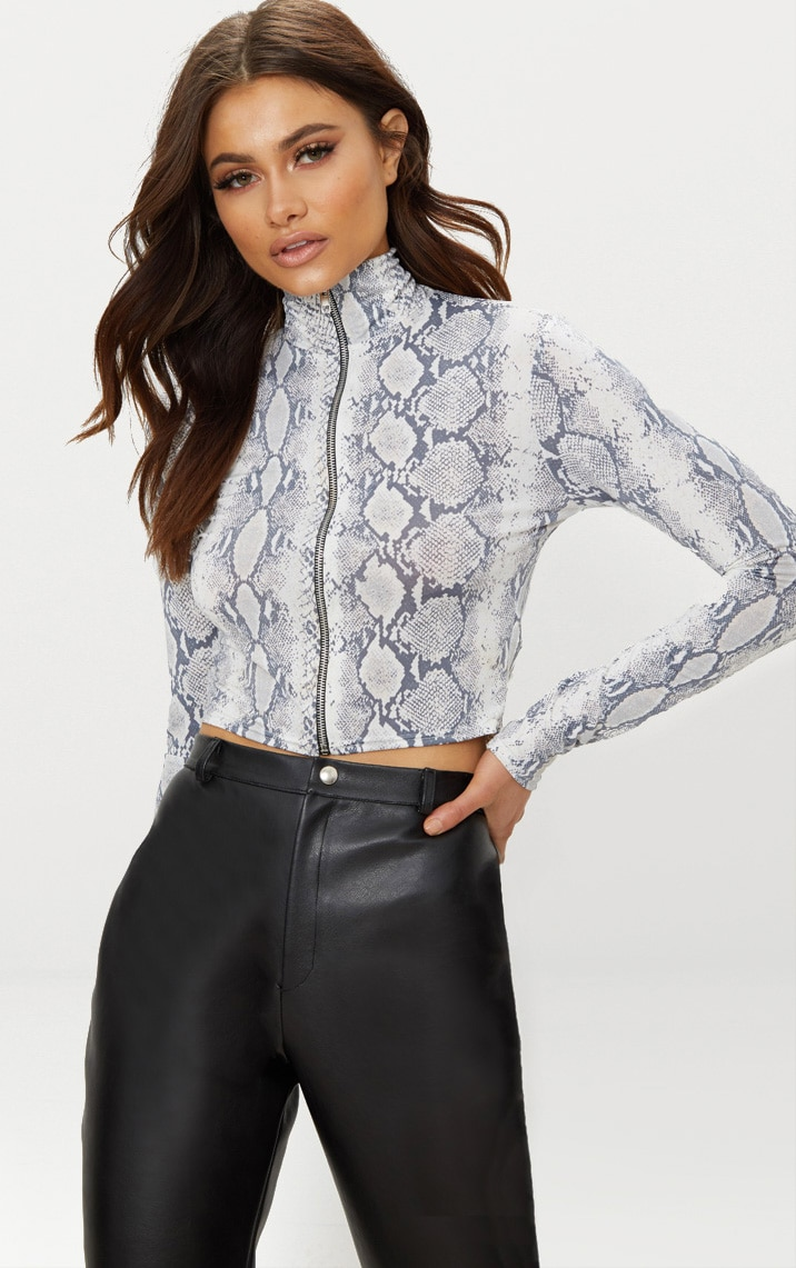 Grey Slinky Snakeskin Long Sleeve Top 1