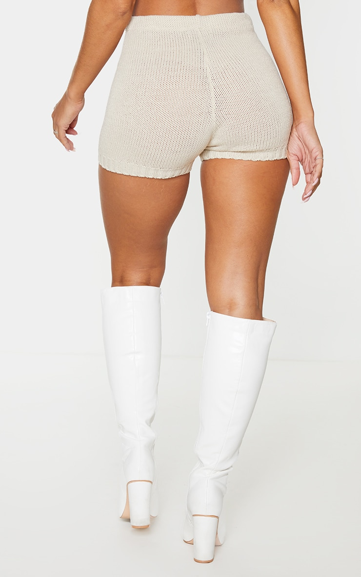 Cream Knitted High Waisted Short 3