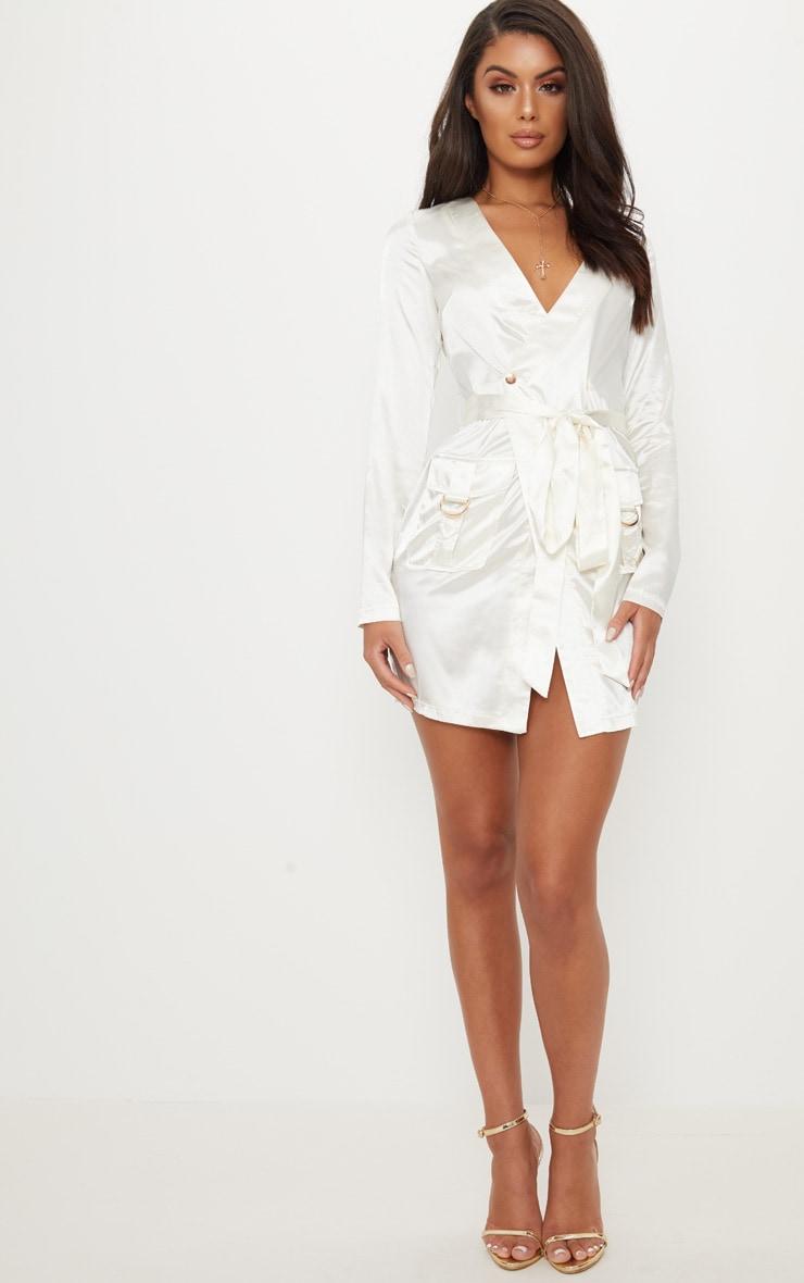 White Satin Utility Long Sleeve Bodycon Dress 4