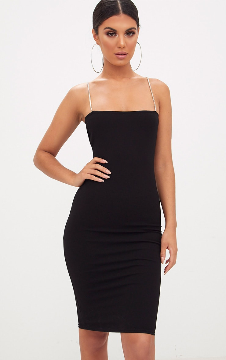 Black Diamante Strap Straight Neck Midi Dress 1