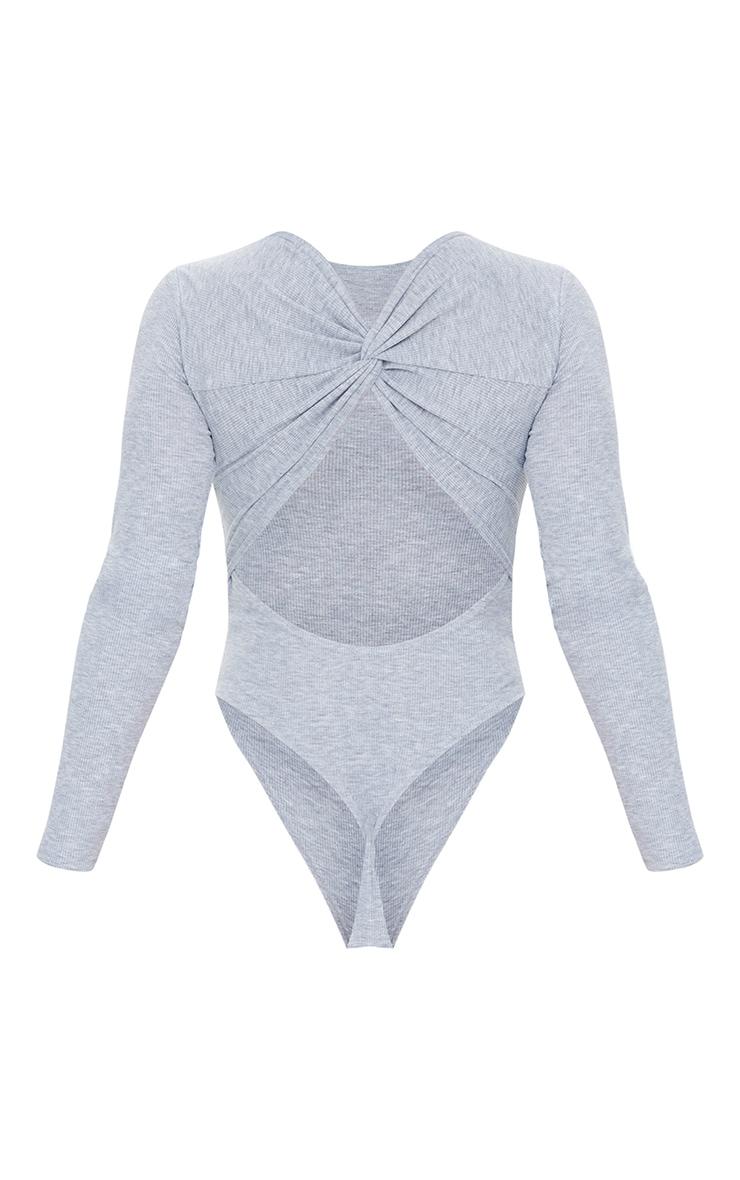 Grey Rib Twist Cut Out Back Long Sleeve Bodysuit 6