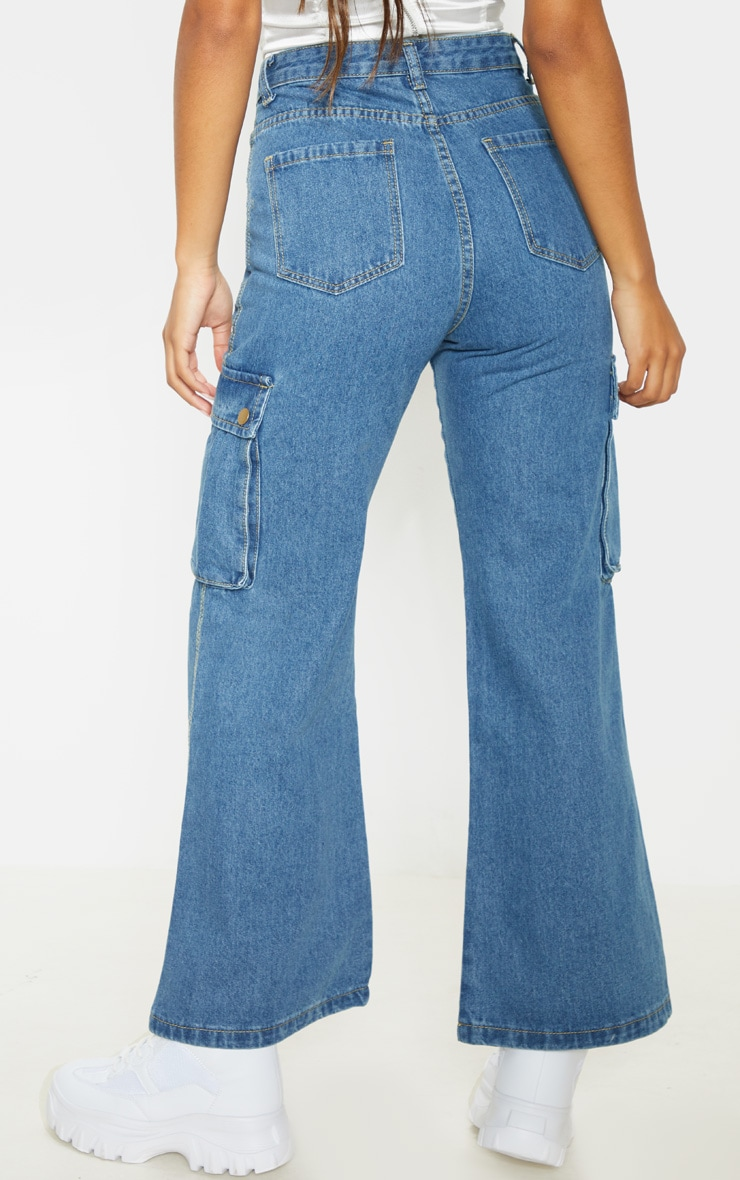 Mid Wash Cargo Baggy Wide Leg Cropped Jeans 4