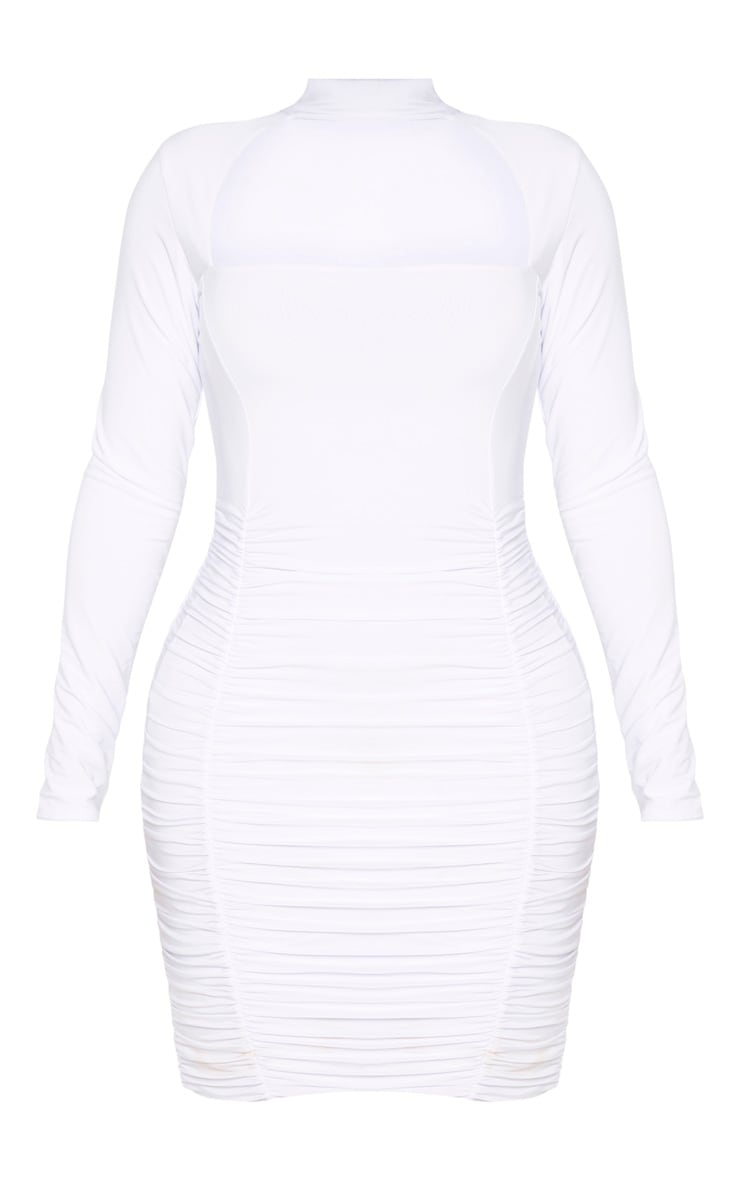 Shape White Long Sleeve Cut Out Ruched Bodycon Dress 3