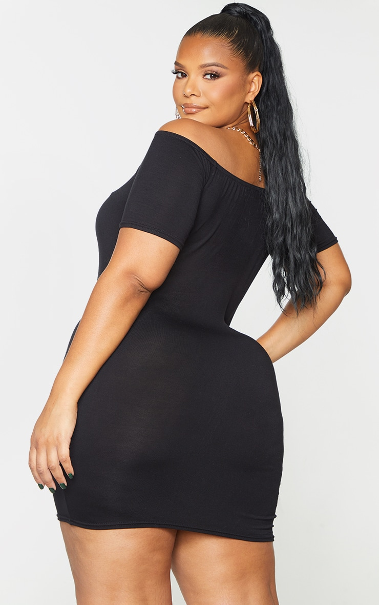 Plus Basic Black Short Sleeve Bardot Bodycon Dress 3
