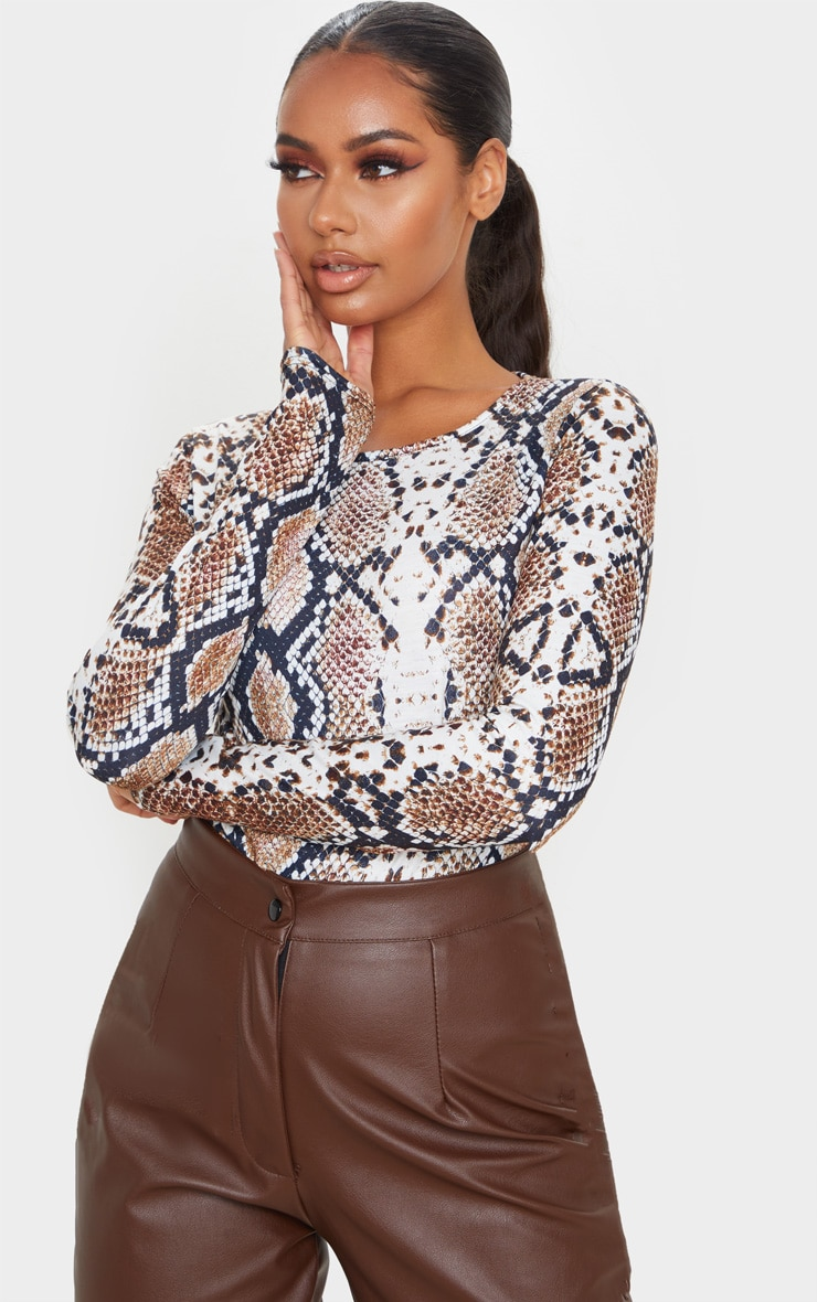 Tan Jersey Leopard Print Long Sleeve Bodysuit 1