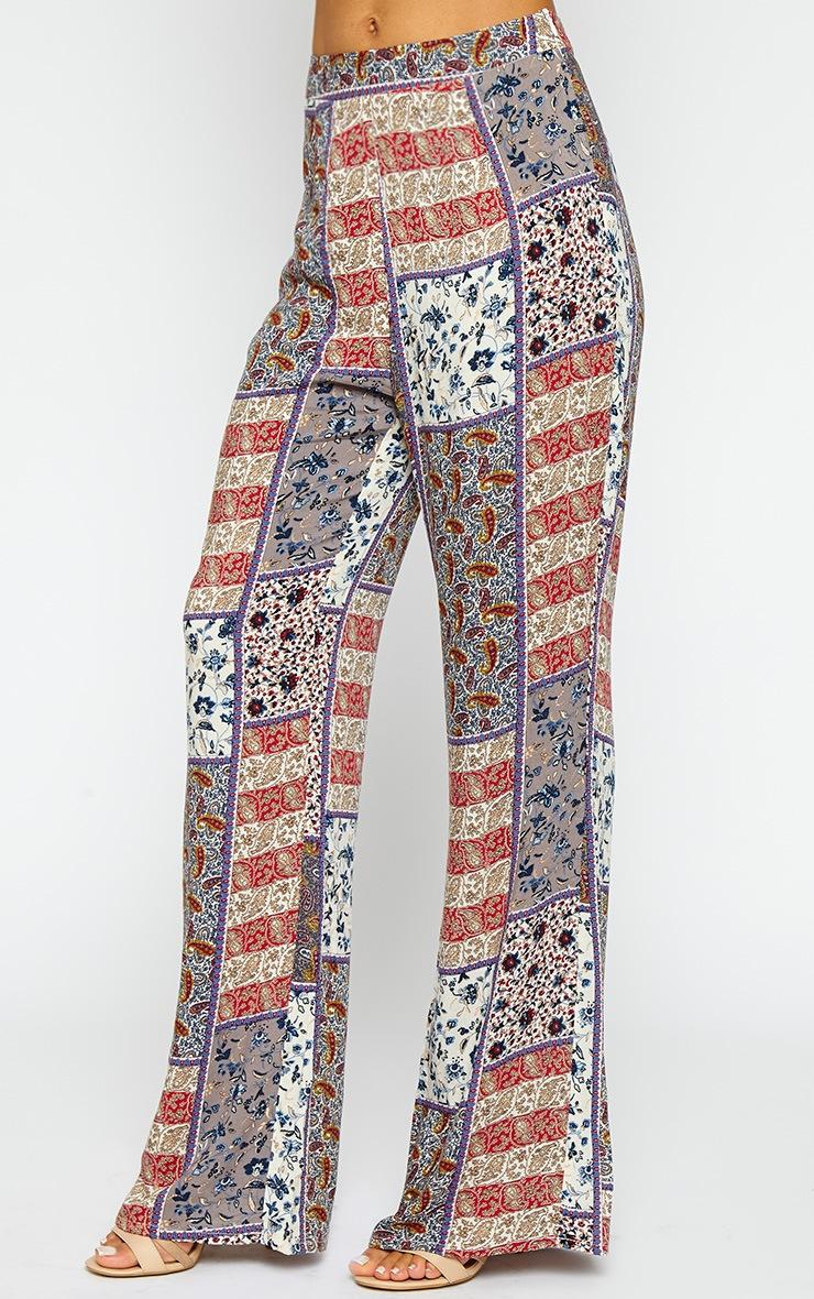 Stassia Paisley Print Flare Trousers 3
