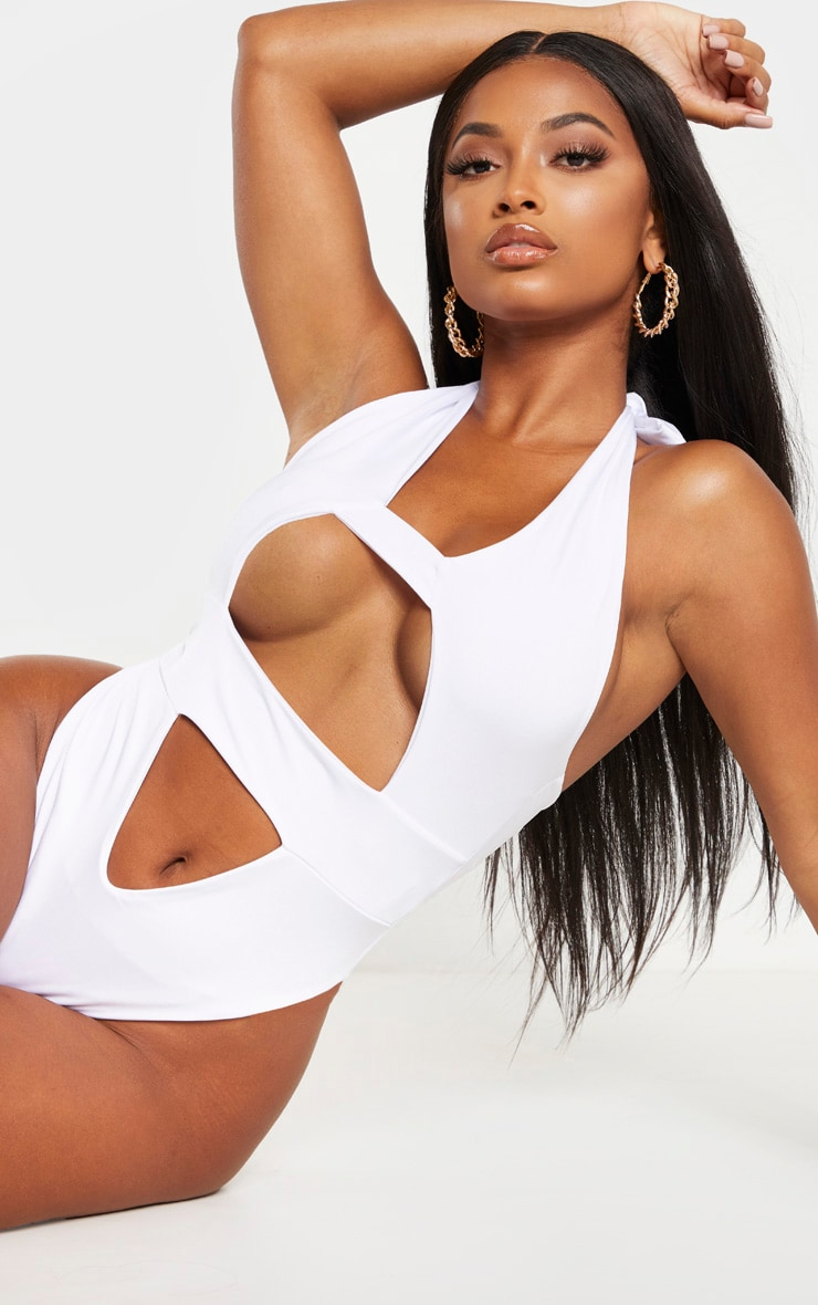 Shape White Cut Out Front Halterneck Swimsuit 1