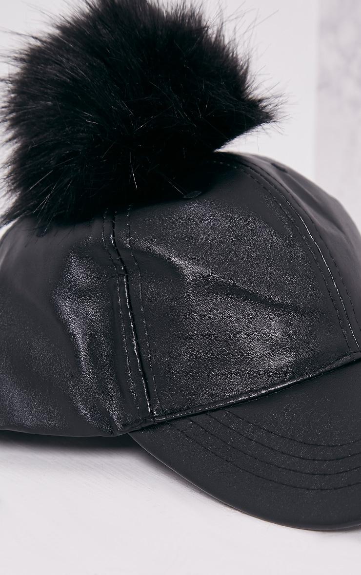 Black Matte PU Pom Pom Baseball Cap 6