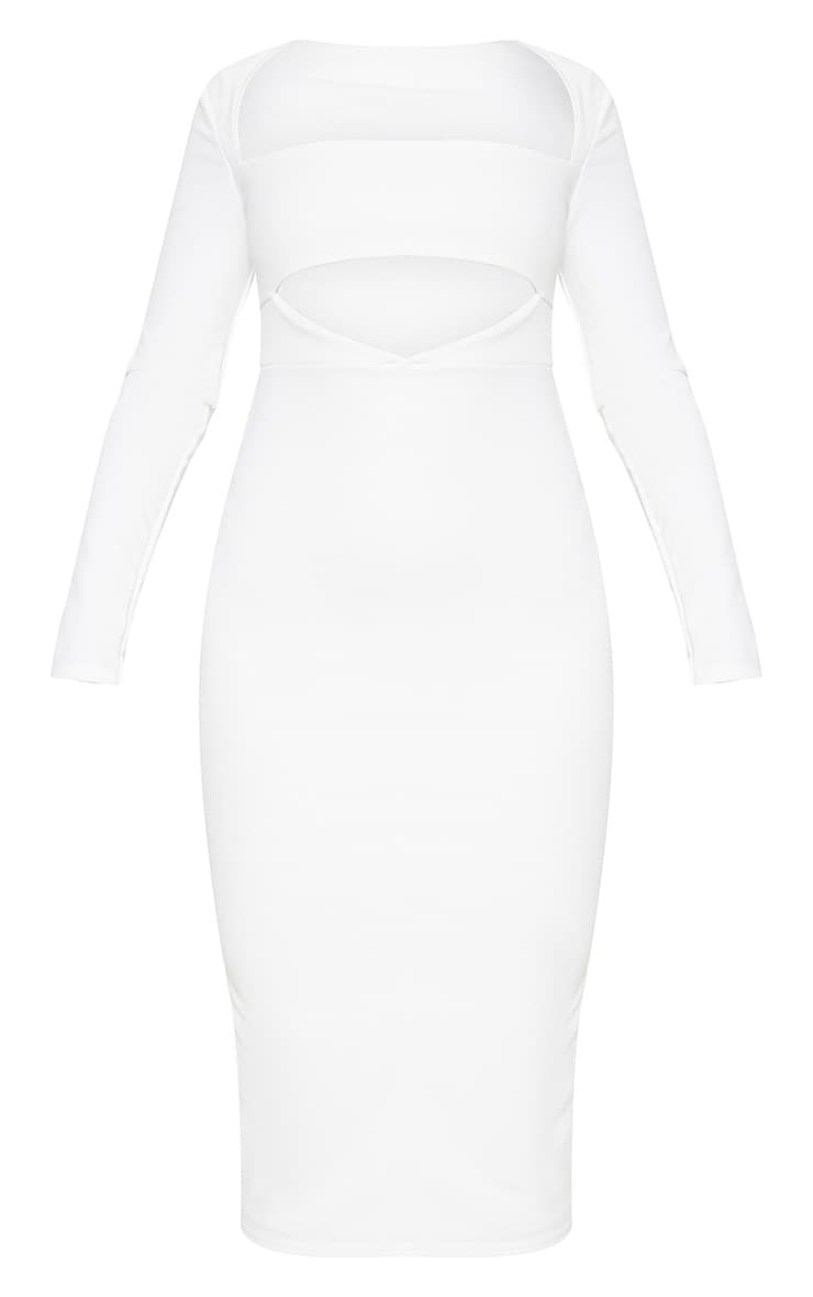 White Shoulder Pad Cut Out Midi Dress 3