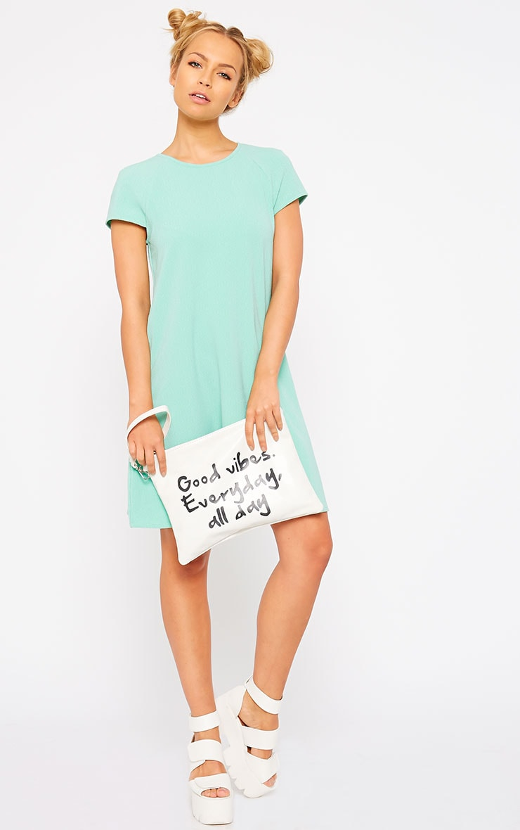 Sabra Mint Waffle Loose Fit Shift Dress 3