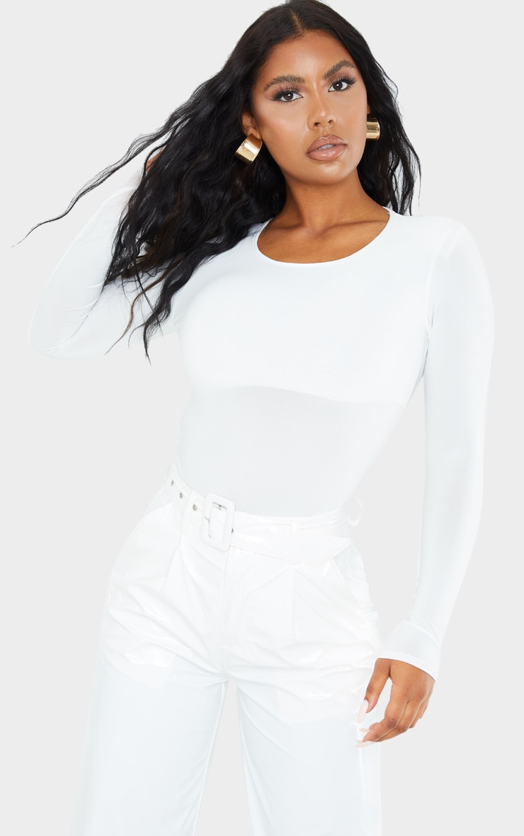 White Slinky Shoulder Pad Long Sleeve Bodysuit 1