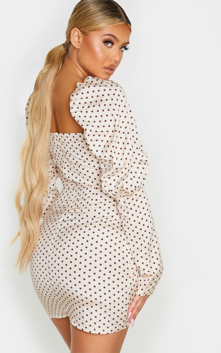Nude Polka Dot Puff Sleeve Twist Detail Bodycon Dress 2