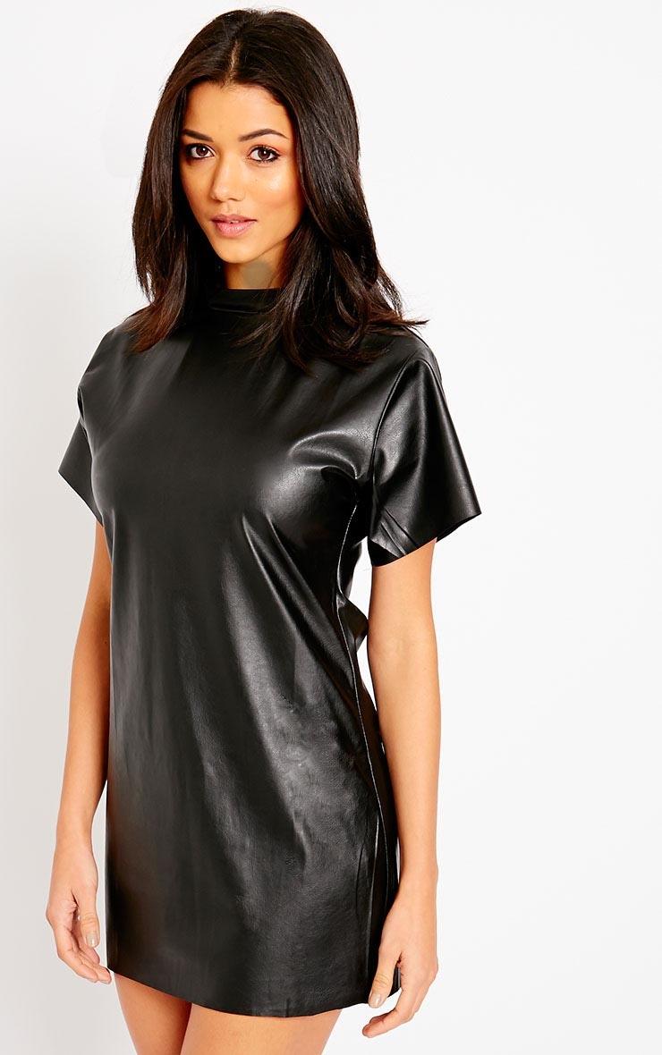 Charis Black Faux Leather Dress 4