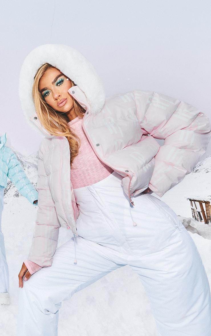 PRETTYLITTLETHING Ski Pastel Pink Faux Fur Hooded Puffer Coat 1