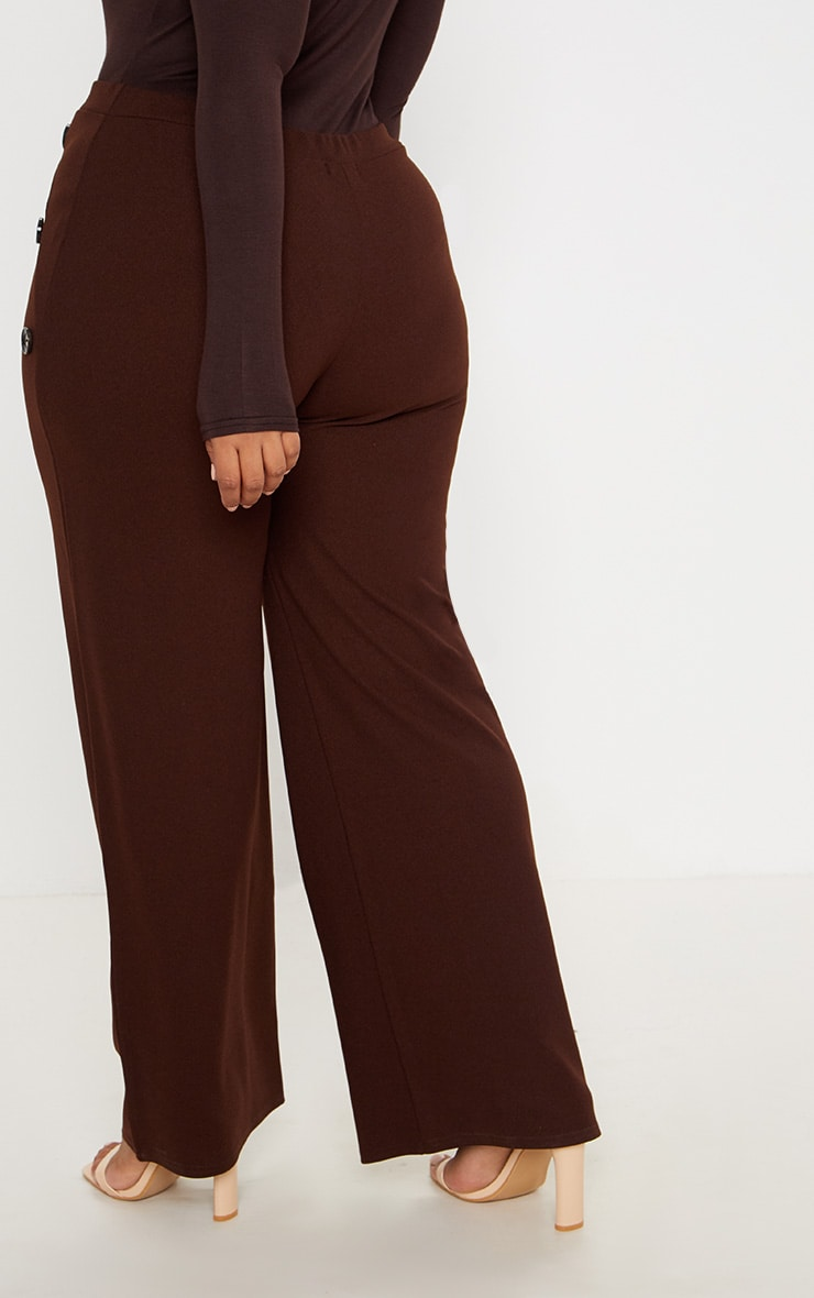 Plus Chocolate Brown Button Detail Wide Leg Trousers 4