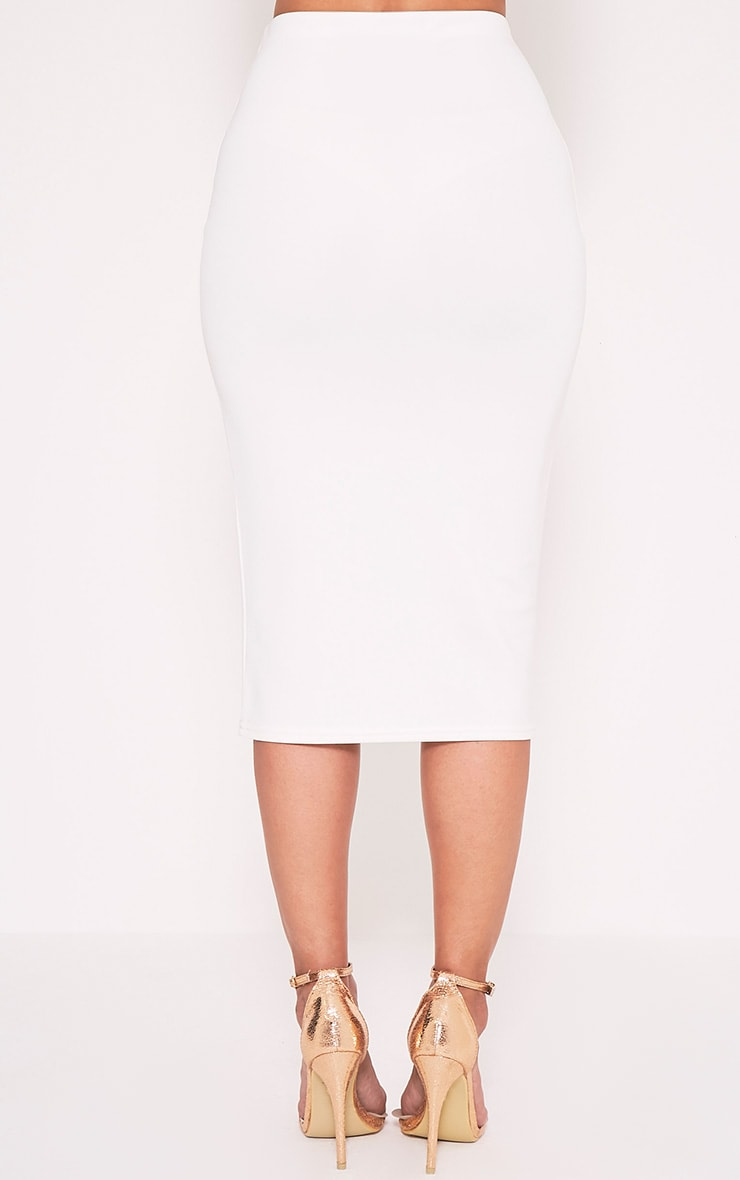 Fillipa Cream Scuba Midi Skirt 5