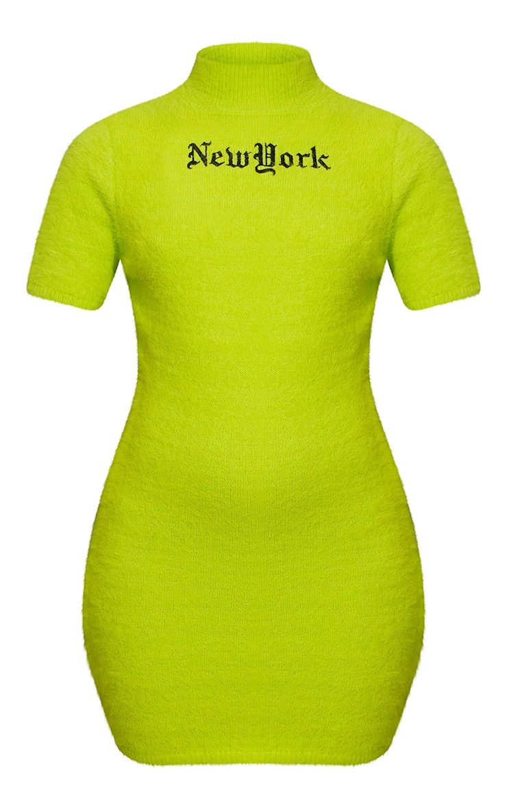 Lime New York Fluffy Knitted Bodycon Dress 7