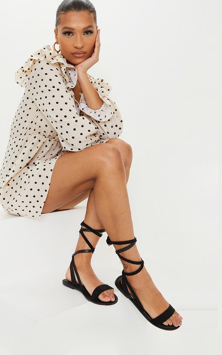 Black Wide Fit Suede Strappy Basic Sandal 1