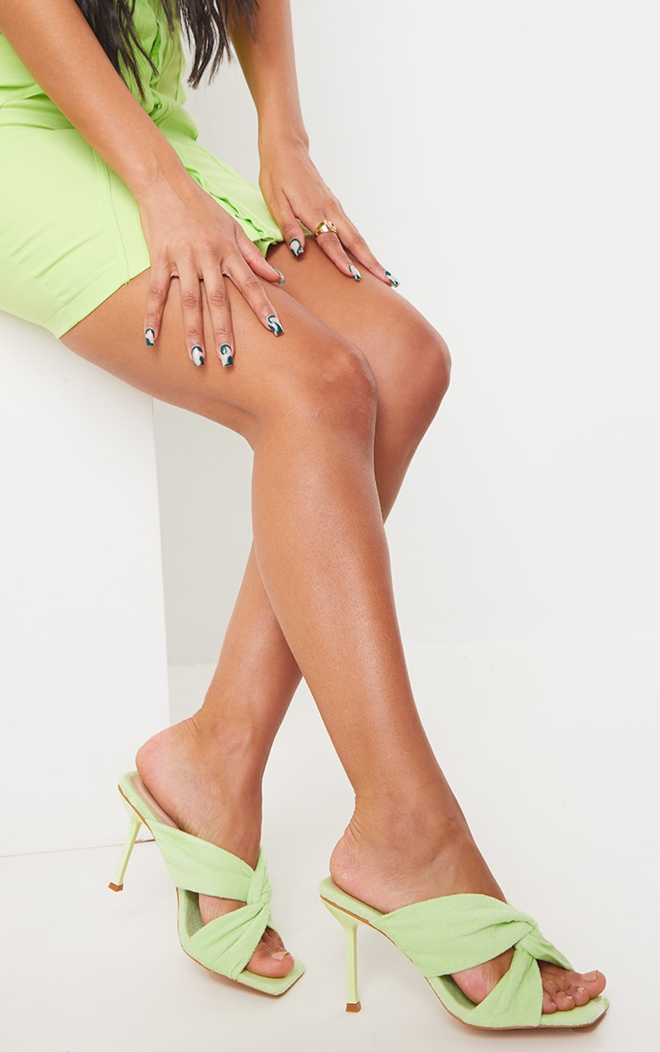 Lime Towelling Square Toe Knot Detail High Heeled Mules 1