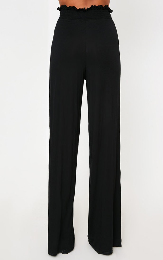 Black Shirred Waist Wide Leg Trousers 4