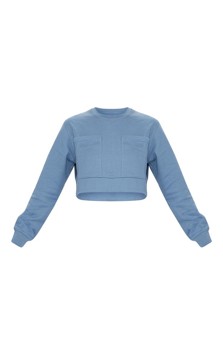 Blue Pocket Detail Cropped Sweater 5