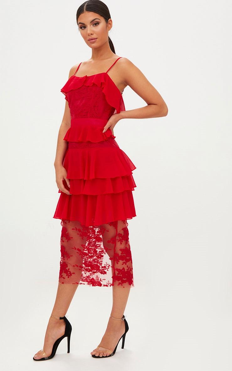 Red Strappy Lace Chiffon Layer Midi Dress 1