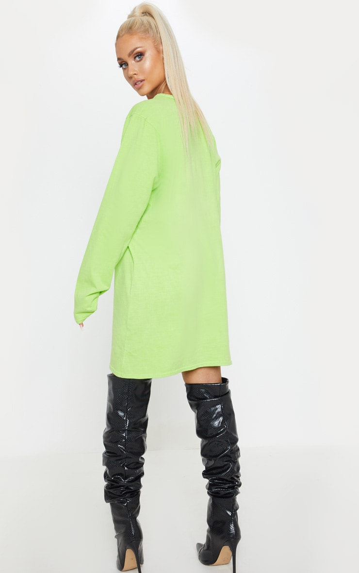 Lime Acid Wash Chicago Slogan Long Sleeve T Shirt Dress 2