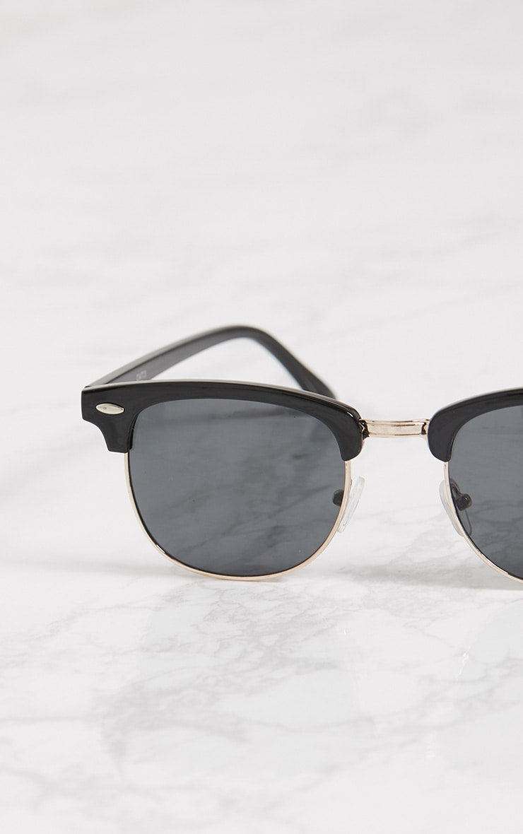 Black Half Lens Aviator Sunglasses 3