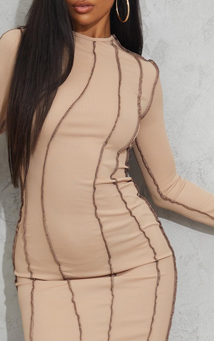 Nude Rib Asymmetric Seam Detail Long Sleeve Midi Dress 4