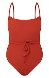 Brown Tie Waist Crinkle Swimsuit 5