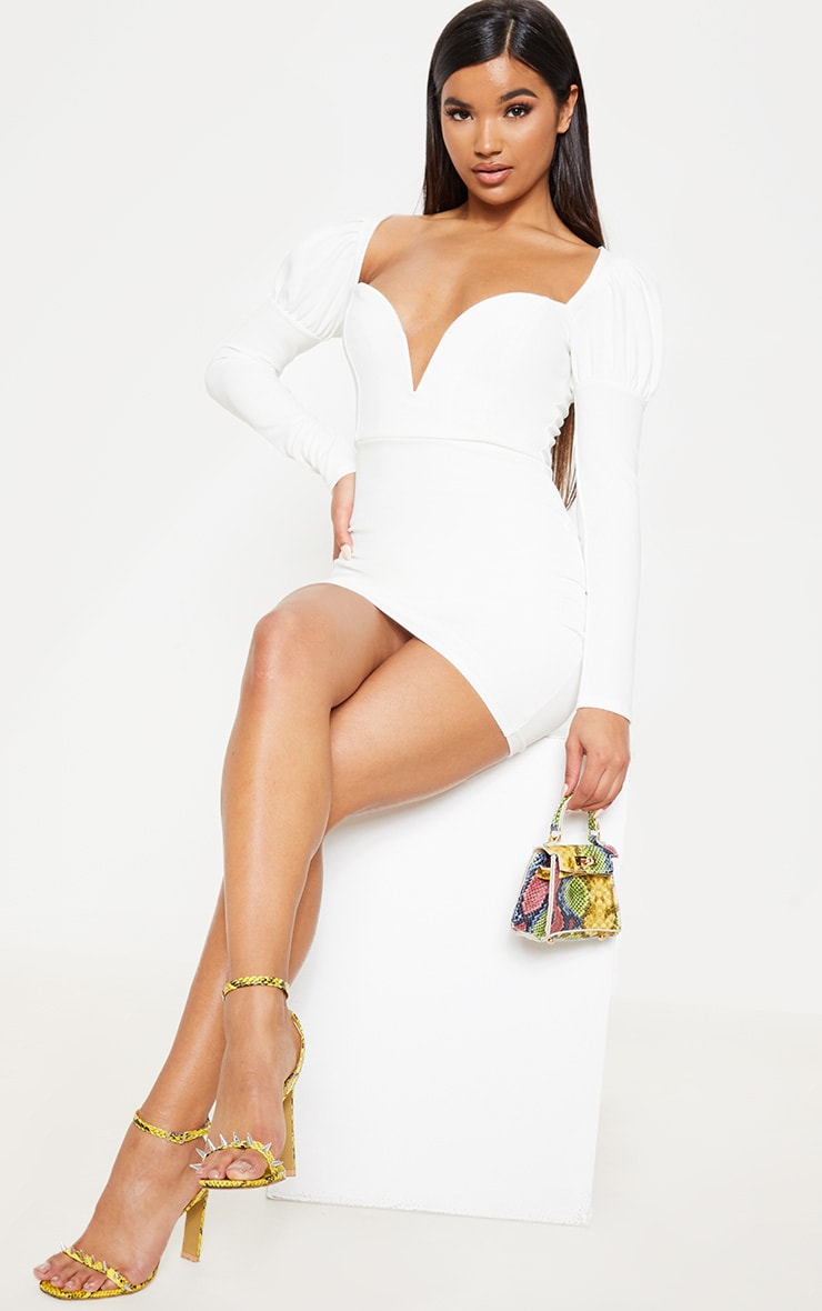 White Puff Shoulder Deep Plunge Bodycon Dress 4
