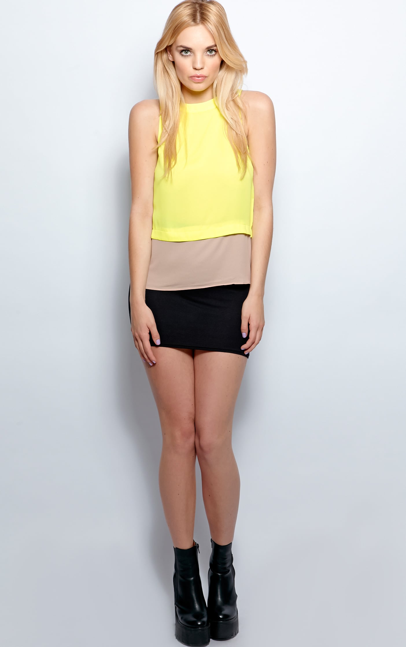 Mya Lime Panel Chiffon Vest 5
