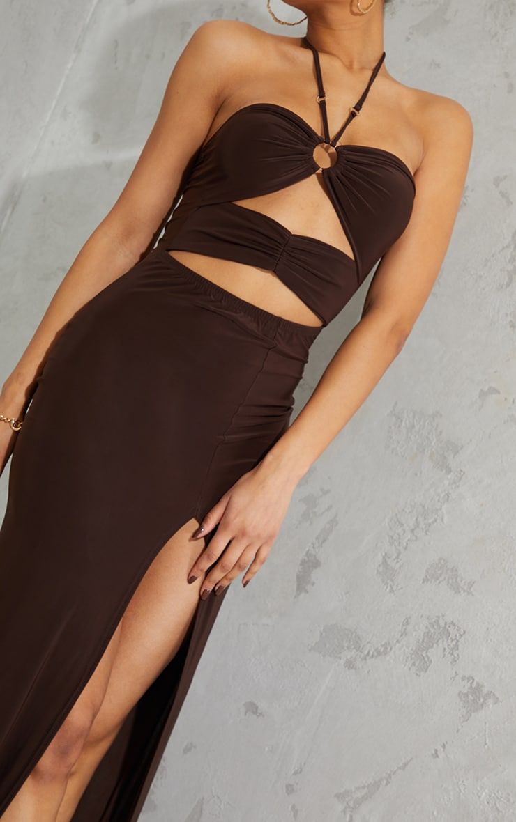 Chocolate Slinky Ring Detail Cut Out Halterneck Maxi Dress 4