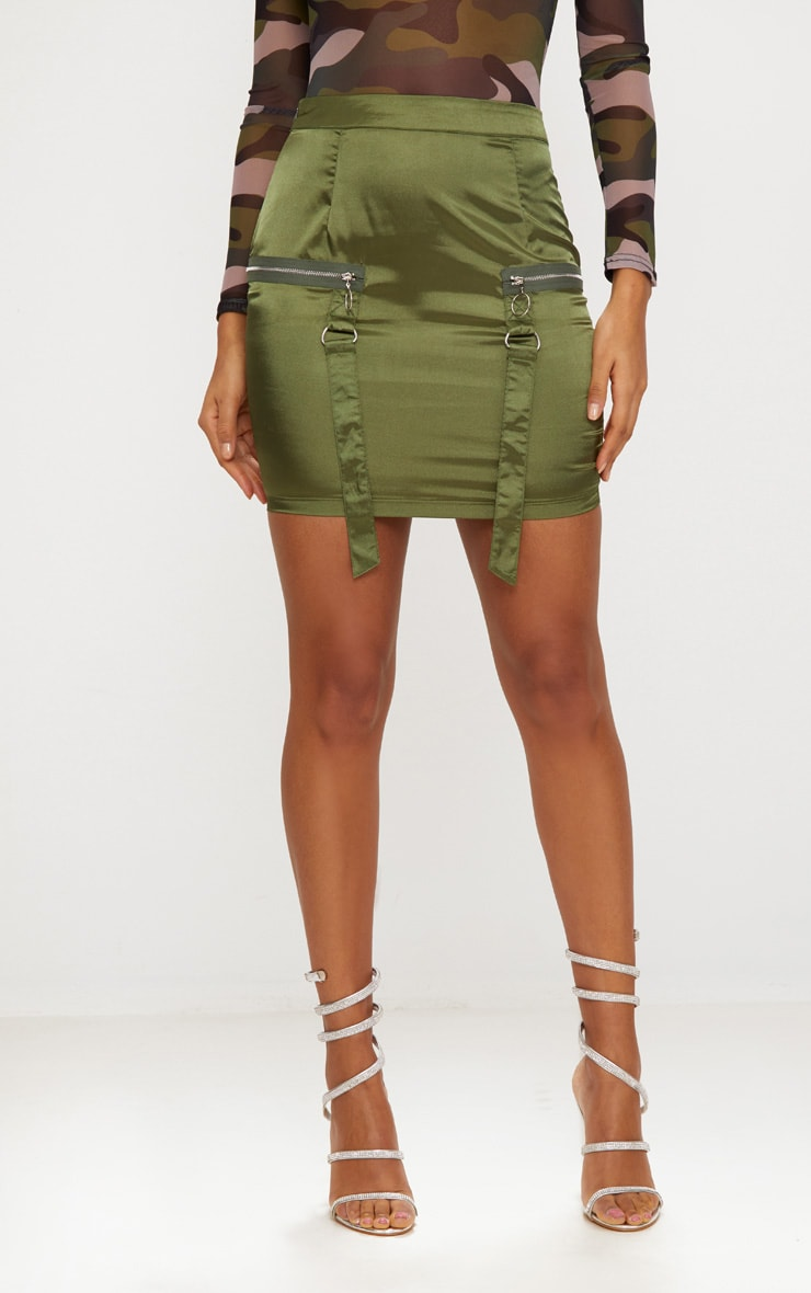 Khaki Satin Pocket Detail Mini Skirt  2