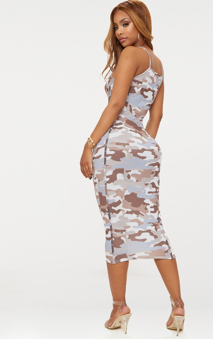 Shape Nude Strappy Camo Midi Dress Pretty Little Thing Outlet Cost Sale Sale Online Clearance Best Store To Get Outlet Wiki Quality From China Cheap xFZU76ZBxw